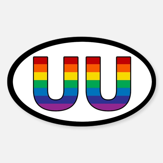 Rainbow UU Bumper Oval Decal