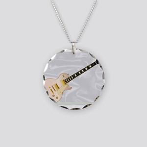 Pink Blues Guitar Necklace Circle Charm