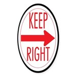 Keep Right Oval Sticker