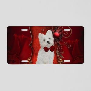 Cute little maltese puppy Aluminum License Plate