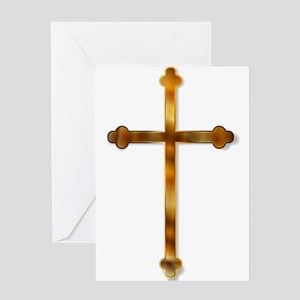 Isolated Golden Crucifix Greeting Cards