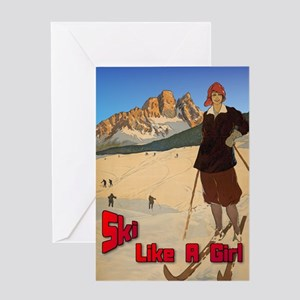 Ski Like A Girl Greeting Card