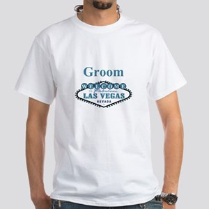 Vegas Blue Wedding Groom White T-Shirt