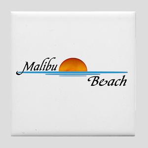 Malibu Beach Sunset Tile Coaster
