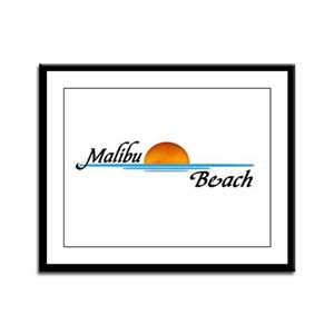 Malibu Beach Sunset Framed Panel Print