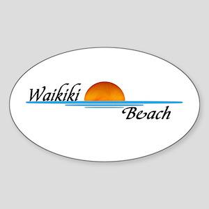 Waikiki Beach Sunset Oval Sticker