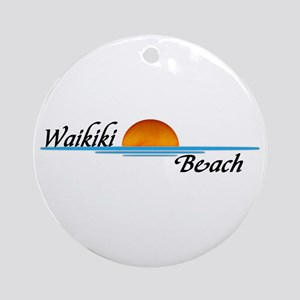 Waikiki Beach Sunset Ornament (Round)