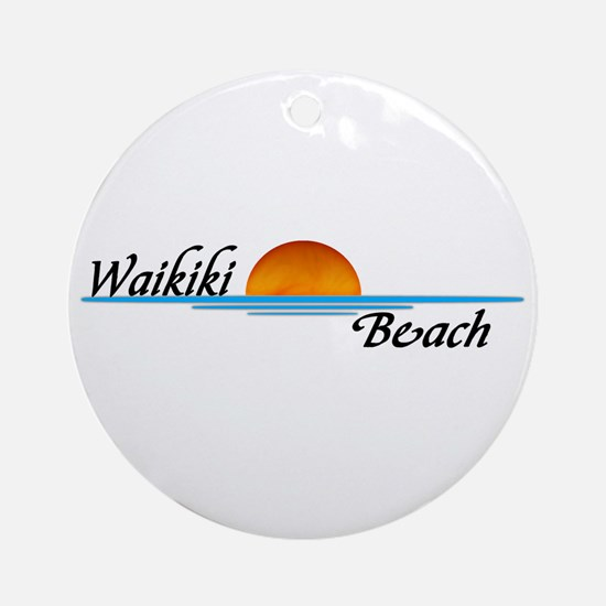 Waikiki Beach Sunset Ornament (Round)