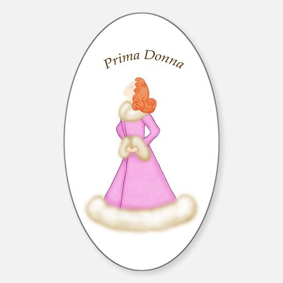 Redhead Prima Donna in Pink Robe Oval Decal