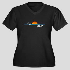 Key West Sunset Women's Plus Size V-Neck Dark T-Sh