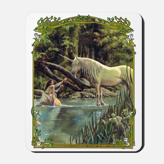 Unicorn in Woods Mousepad
