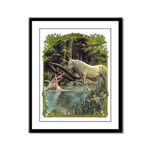 Unicorn in Woods Framed Panel Print