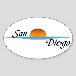 San Diego Sunset Oval Sticker