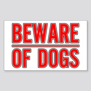 Beware of Dogs(White) Rectangle Sticker