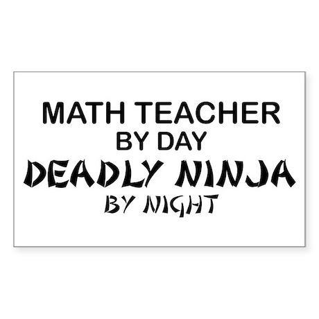 Math Teacher Deadly Ninja Rectangle Sticker