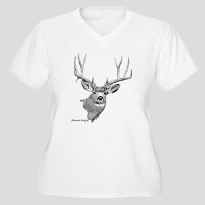 Mule Deer Women's Plus Size V-Neck T-Shirt