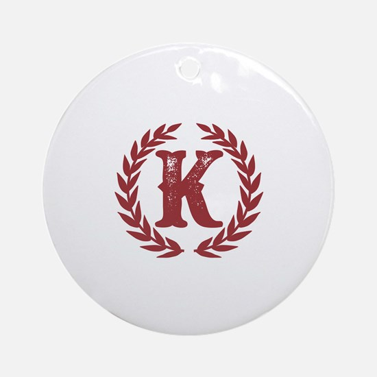 Rustic Red Monogram: Letter K Round Ornament