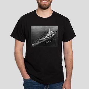 USS Massachusetts Ship's Image Dark T-Shirt