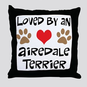 Loved By An Airedale Throw Pillow