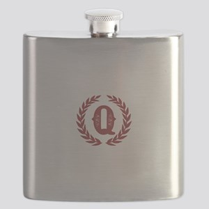 Rustic Red Monogram: Letter Q Flask