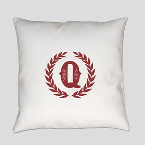 Rustic Red Monogram: Letter Q Everyday Pillow