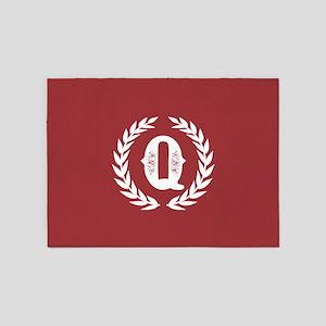 Rustic Red Monogram: Letter Q 5'x7'Area Rug