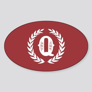 Rustic Red Monogram: Letter Q Sticker (Oval)
