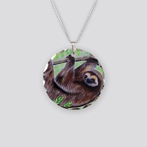 Smiley Sloth Necklace Circle Charm
