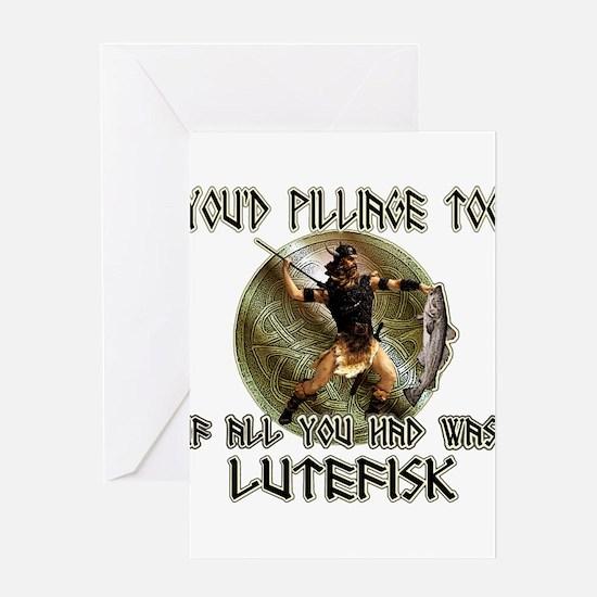 Lutefisk viking humor Greeting Card