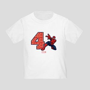 Spider Man Birthday Age 4 Toddler T Shirt