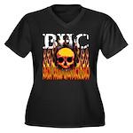BHC FLAMED Women's Plus Size V-Neck Dark T-Shirt