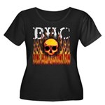 BHC FLAMED Women's Plus Size Scoop Neck Dark T-Shi