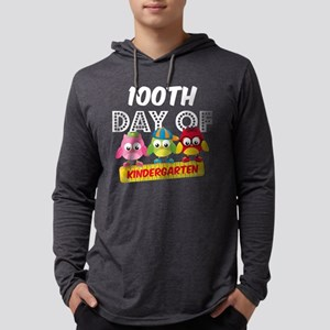 Owl 100 Days Kindergarten Mens Hooded Shirt