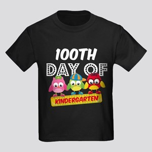 Owl 100 Days Kindergarten Kids Dark T-Shirt