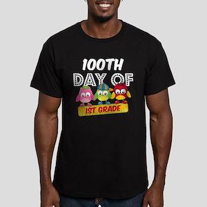 Owl 100 Days 1st Grade Men's Fitted T-Shirt (dark)
