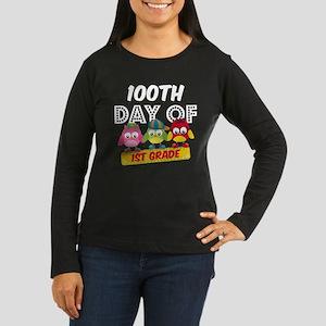 Owl 100 Days 1st Women's Long Sleeve Dark T-Shirt