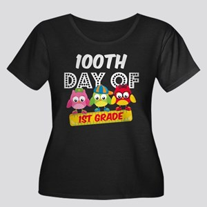 Owl 100 Women's Plus Size Scoop Neck Dark T-Shirt