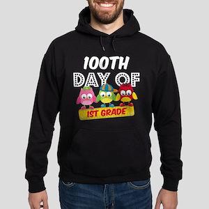Owl 100 Days 1st Grade Hoodie (dark)