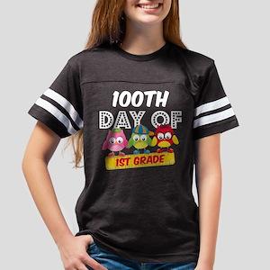 Owl 100 Days 1st Grade Youth Football Shirt
