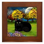 BLACK CAT FALL MOON Framed Tile