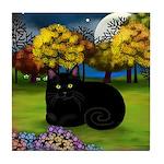 BLACK CAT FALL MOON Tile Coaster