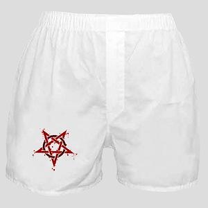 Red Satanic Spotted Pentagram Boxer Shorts