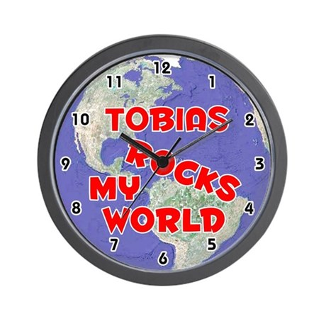 Tobias Rocks My World (Red) Wall Clock