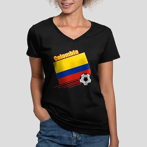 Colombia Soccer Team Women's V-Neck Dark T-Shirt