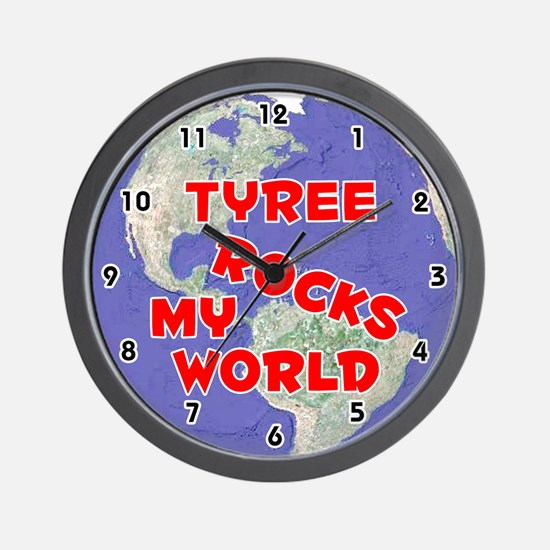 Tyree Rocks My World (Red) Wall Clock