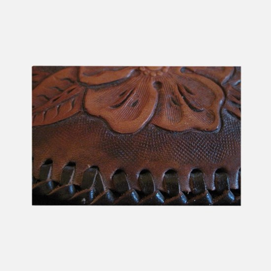 Western tooled leather Rectangle Magnet
