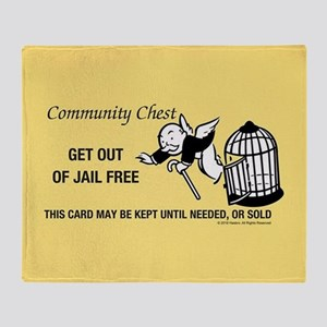 Monopoly - Get Out Of Jail Free Throw Blanket