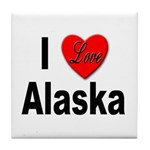 I Love Alaska Tile Coaster