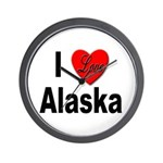 I Love Alaska Wall Clock