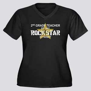 2nd Grade Teacher Rock Star Women's Plus Size V-Ne